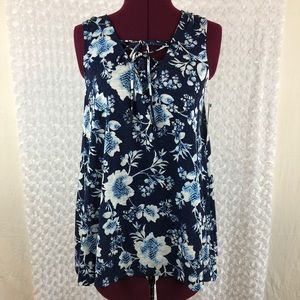 Sonoma flora blouse size small sleeveless tie neck